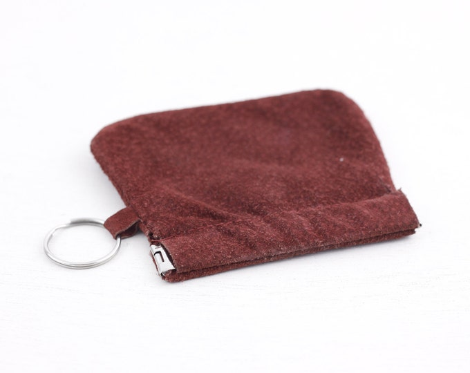 Red suede coin wallet, side push key wallet, keyring keychain coin purse, TTC subway token pouch, change wallet, car keys pouch