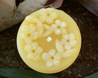 Small Pillar, Tea Tree Blossom - Beeswax Candle