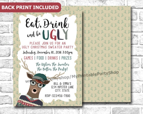 Hipster Ugly Christmas Sweater Party