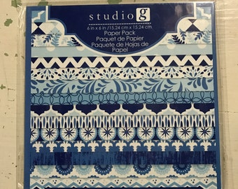 "Studio G Blue Paper Pack 15 sheets 6"" X 6"""