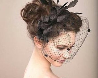 Black Birdcage Veil Mesh Fascinator with Headband, Wedding Bridal Party Accs, Black Fascinator