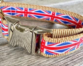"Union Jack 1"" Dog Collar, Flag Dog Collar"