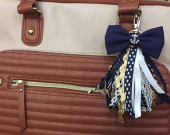 Nautical Bow Tassel Keychain