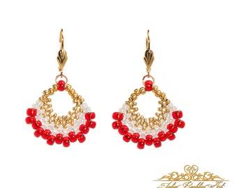Beaded hoop earrings, Earrings Boho Jewelry, Tribal Hoop Earrings, Hoop earrings beads, Unique Earrings, Dangle earrings, Gift for her