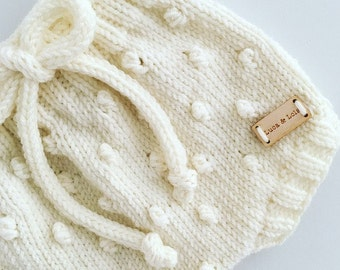 Hand knitted popcorn bobble style baby shorts