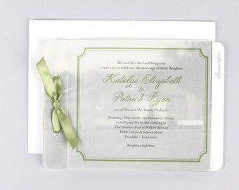 Vellum Photo Wedding Invitation Booklet Livret With Tear Off RSVP Postcard