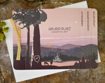 Appalachian Mountain Dramatic Sunset over Lake Fairytale Castle Livret Wedding Invitation with A7 Envelope - BP1