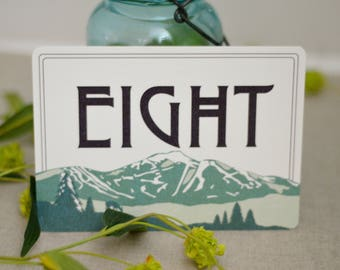 5x7 FLAT Craftsman Table Number // Wedding Sign Jay Peak Mountain Lanscape - BP1