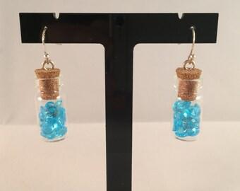 Handmade little gem vial earrings (blue)