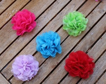"4"" Chiffon Dog Flower available in 5 Colors, Custom Size Loop, Dog Flower, Dog Accessory, Dog Collar Flower"
