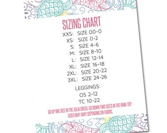 Size Chart Sign 8x10- Instant Download- Approved Fonts and Colors