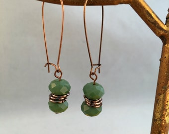 Olive Green Colored Czech Fire polished glass dangle earring