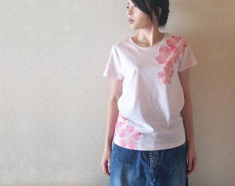 MAISAKURA Cherry Blossoms woman T-shirt japanese hand-painted Handmade made in Japan