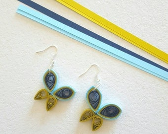 Quilling paper, colorful butterflies earrings