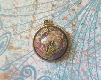Queen Anns Lace and Verbena Resin Pendant.