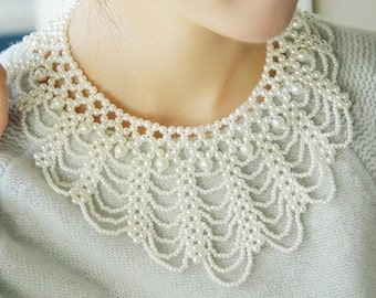 Faux Pearl Collar Necklace NK4042i