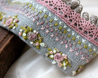 Flowers bracelet. Cuff bracelet. Textile bracelet. Embroidery bracelet. Lace bracelet. Boho bracelet. Cross Stitch Bracelet. Gift for her
