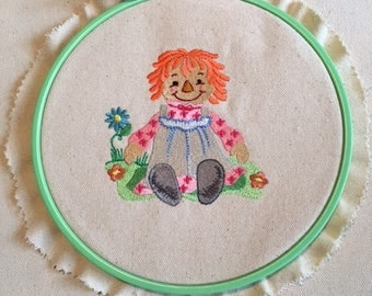 Baby Shower Gift, Raggedy Ann in the Garden, Newborn Gift, Nursery Decor, Wall Hanging, Embroidered Wall Art