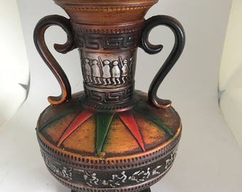 Mid Century Modern Double Handled Pottery Vase Bright colors Unique Design Mod Retro Atomic Greek key Green and Orange  starburst pattern