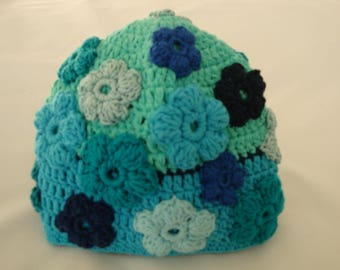 Hat, girl, flowers, flowers, crocheted, turquoise, blue
