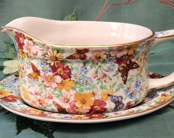 Wade Floral and Butterfly Chintz Gravy Boat and Saucer.