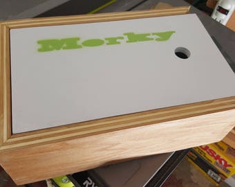Custom size wooden storage box with sliding front lid
