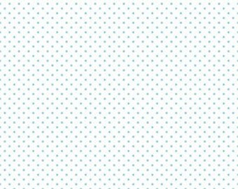 "Riley Blake Swiss Dot in Aqua and White. 42"" width."