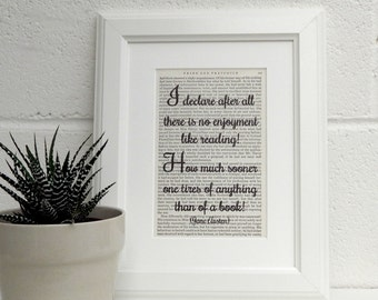 Jane Austen, Pride and Prejudice, Vintage Book Print, Literary Quote, Book Page Print, Book Lover Gift, Library Decor, Best Friend Gift