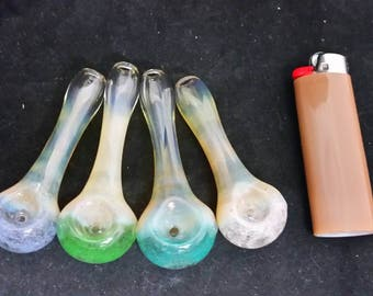 Glass Speckle-Tipped Fumed Spoon Style Tobacco Pipe