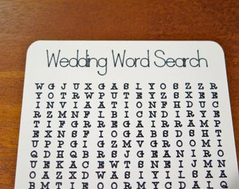 Wedding Word Search Activity Page | Bridal Shower | Reception | Kids | Game | Place Setting | Favor