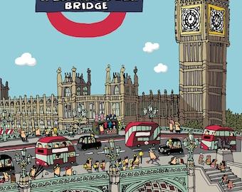 London Westminster Bridge Busy Buses Greetings Card