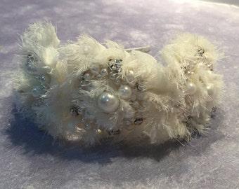 SNOW - Ivory Fabric Flower Head Piece