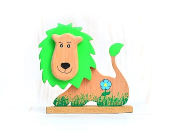 Lion green wooden natural toy, Wood animal toy, Lion figurine, Jungle safari zoo nursery decor, African animal, Waldorf inspired wood toy