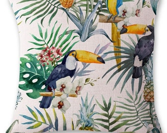 Cute linen pillow cover with tropical bird and pineapple print