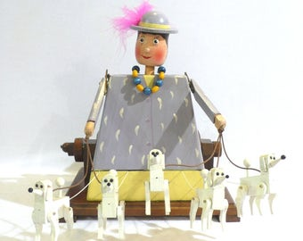 Lady with dogs Automata: Duchess with poodles. Wooden toys. Collecting and play. Kinetic art. Sculpture