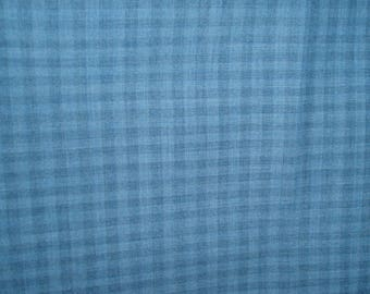 "Worsted wool fabric blue gingham check 59"" wide fabric"