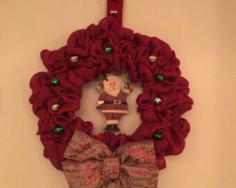 Handmade Santa Christmas Wreath.