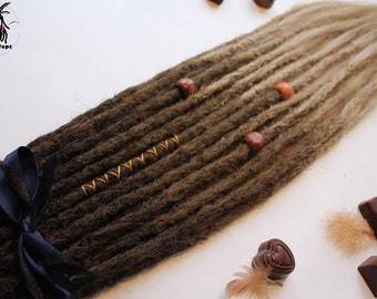 Chocolate single and double ended synthetic dreads