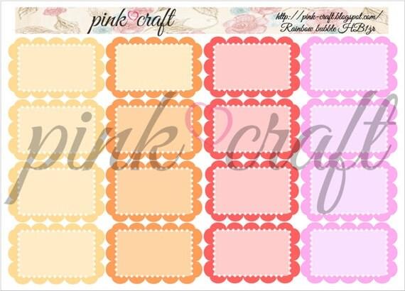 Half boxes planner stickers. Rainbow bubble collection HB1żr