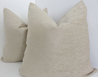 Cream Pillow Covers-  Cream Chenille Pillows- Accent Chenille Pillow- Solid Cream Chenille Pillows