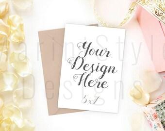 Card Mockup, Vintage Styled Stock Photography, 5x7 Card & Envelope Mockup, Invitation Stock image, Stock Photo, Stationery Mockup, 509