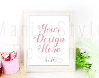 White Frame Mockup, Empty Frame, Vertical Photo Frame, Styled Stock Photography, Stock Photo, Stock image, PSD, Smart Object, PNG, 8x10, 518