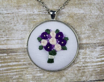 """Hand Embroidered Purple and White Flowers Bouquet Pendant Necklace. 38mm (1.5"""") Silver Circle Bezel Pendant. 28"""" Chain."""