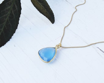Necklace with blue jade Sterling silver gold plated