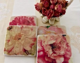 Vintage Roses Coaster Set - Classic Floral Beauties - the Perfect Gift for Hosts, Garden Lover's or Mothers Day