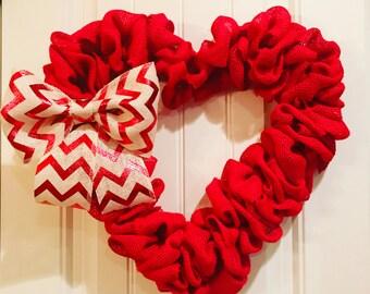 Valentines burlap wreath, Valentines wreath, heart shaped wreath, red heart wreath, red valentines burlap wreath, valentines door decor