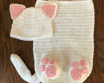 Newborn Kitten Baby Cocoon // Crochet Photo Prop