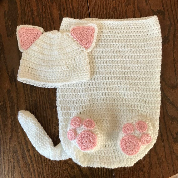 Newborn Kitten Baby Cocoon // Crochet Photo Prop