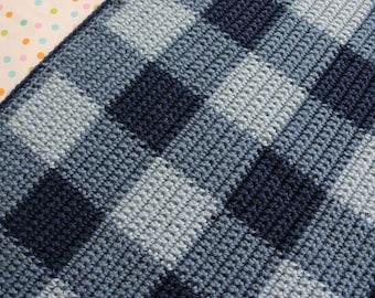 Blue Gingham Crochet Blanket