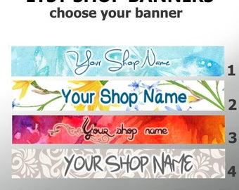 Custom Etsy Shop Banner - Floral Etsy Banner, Watercolor Banner, Paisley Banner, Blue Etsy Banner / Custom Shop Banners